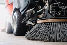 Closeup At Nylon Brush Of The Road Sweeper