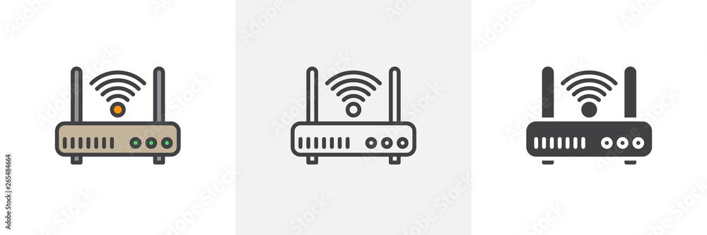 Fototapeta Wifi router icon. Line, glyph and filled outline colorful version, internet modem outline and filled vector sign. Symbol, logo illustration. Different style icons set. Vector graphics
