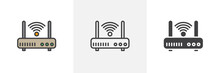 Wifi Router Icon. Line, Glyph And Filled Outline Colorful Version, Internet Modem Outline And Filled Vector Sign. Symbol, Logo Illustration. Different Style Icons Set. Vector Graphics