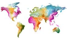World Map Vector Watercolor. C...