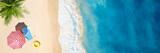 Fototapeta Fototapety z morzem do Twojej sypialni - Aerial view of umbrella,towel on sand beach