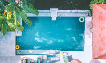 Pool With Blue Water Aerial View