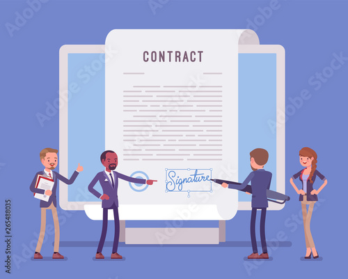 Fototapeta Electronic document signature, contract page on screen. Business people sign official paper, formal agreement, businessman with giant pen putting name as a form of identification. Vector illustration obraz