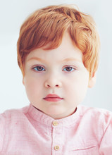 Close-up Portrait Of Redhead Toddler Baby Boy Of Two And A Half Years Old
