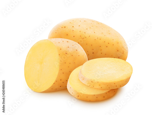 Raw potato isolated on white background with clipping path Tapéta, Fotótapéta