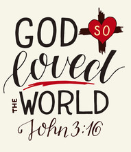 Golden Bible Verse John 3 16 For God So Loved The World, Made Hand Lettering With Heart And Cross.