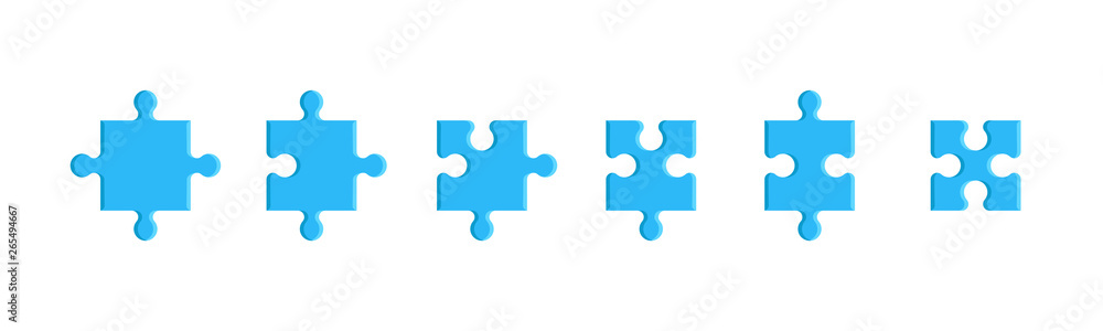 Fototapeta Puzzle pieces set isolated on a white background. Mosaic, details, tails. Jigsaw presentation template. Simple modern design. Blue color. Flat style vector illustration.