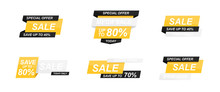 Sale Banners Template Set. Speech Bubble. Abstract Concept. Simple Modern Design. Black And Yellow Colors. Special Offer, Black Friday. Flat Style Vector Illustration.