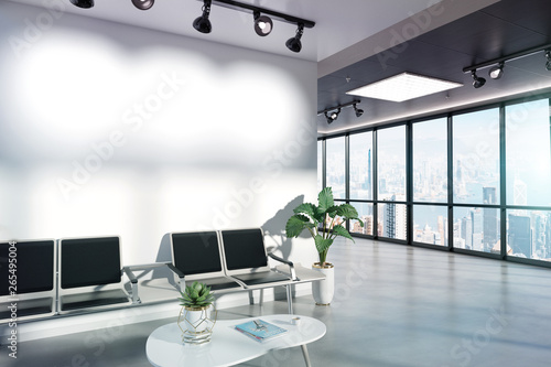 Blank wall in waiting room mockup with large windows and sun passing through 3D rendering