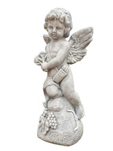 Cupid Sculpture On White Background. (clipping Path)