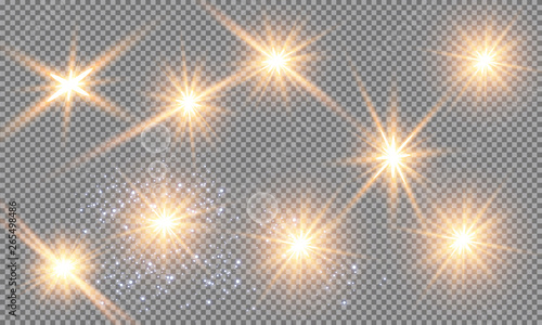 Fototapety, obrazy: Glow light effect. Vector illustration. Christmas flash Concept. Vector illustration of abstract flare light rays. A set of stars, light and radiance, rays and brightness. Glow light effect.