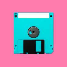 Floppy Disk 3.5 Inch Back Nostalgia, Isolated And Presented In Punchy Pastel Colors
