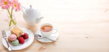 Macarons And Tea For Dessert