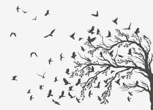 Figures Flock Of Flying Birds On Tree