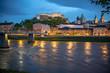 canvas print picture - Altstadt von Salzburg und Festung Hohensalzburg am Abend