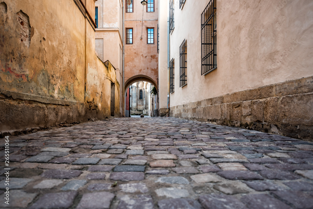Lviv, Ukraine colorful orange building historical architecture in Ukrainian city with passage archway narrow alley street