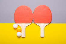 Table Tennis Game On Color Gray Yellow Background, Top View
