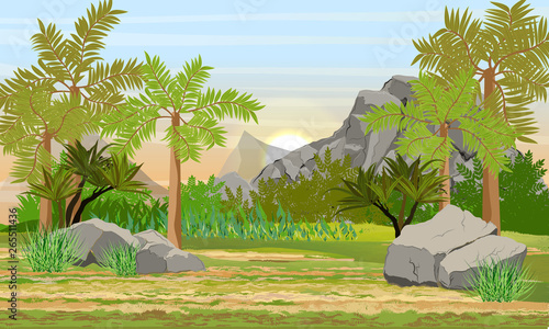 Montage in der Fensternische Pistazie Prehistoric forest. Giant ferns, extinct plants and stones. Scene from Mesozoic or Jurassic period. Realistic Vector Landscape