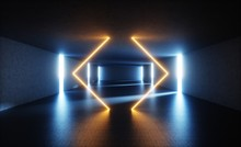 3d Render, Abstract Empty Storage Room, Glowing Geometrical Lines, Concrete Walls, Blue Yellow Neon Light, Corridor, Interior, Gray Concrete, Daylight Rays, Tunnel With No Exit, Minimal Space