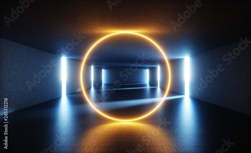 Valokuva  3d render, abstract empty storage room, geometric round shape, glowing ring, lin