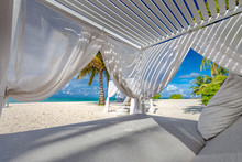 White Beach Canopies. Luxury Beach Tents At A Resort. Wonderful View Of Beach Scenery, Luxury Vacation And Travel Background Concept