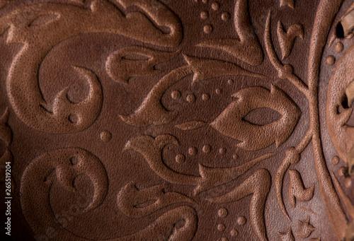 embossed leather. The leather floral pattern background Tapéta, Fotótapéta