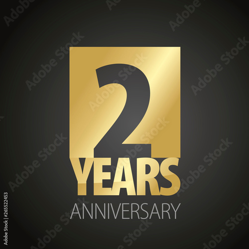 Fotografering  2 Years Anniversary gold black logo icon banner