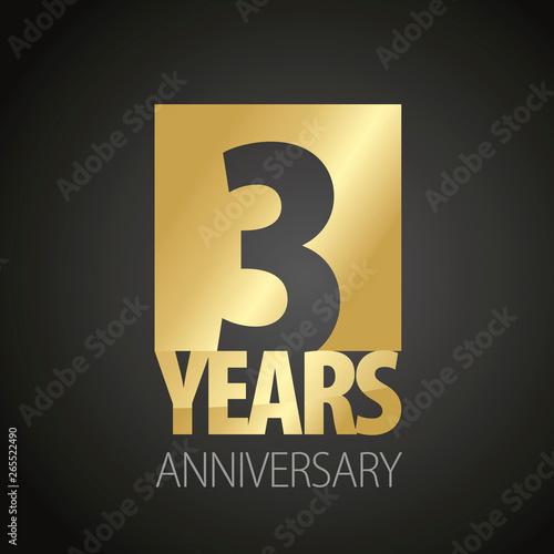 3 Years Anniversary gold black logo icon banner Billede på lærred