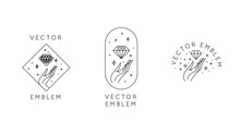 Vector Abstract Logo Design Templates In Trendy Linear Minimal Style - Hands With Diamond And Stars