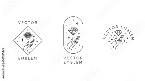 Vector abstract logo design templates in trendy linear minimal style - hands wit Wallpaper Mural