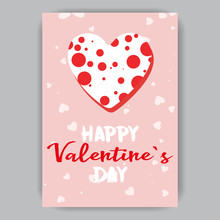 Valentine's Day Pink Card With A White Heart In Red Polka Dots