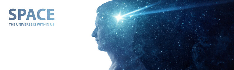 Silhouette of a man with the space as a brain isolated on white background. The universe is within us, flying asteroid is a symbol of human thinking. Elements of this image furnished by NASA.
