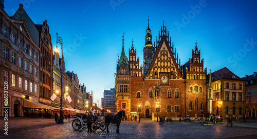 Wroclaw central market square with old houses, Town Hall and sunset, horse and carriage Fototapeta