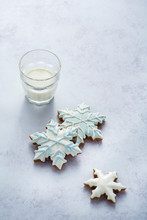 Three Snowflake Cookies With A...