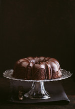 Chocolate Bundt Cake On A Cake Stand