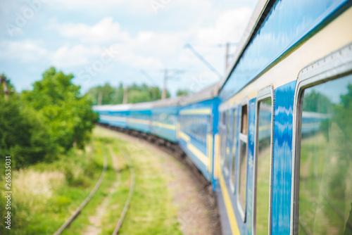 train on railroad. travel concept. copy space