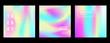 Holographic retro 80s, 90s vector futuristic covers set