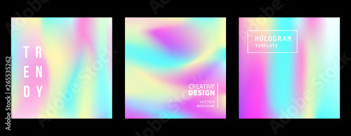 Fototapety, obrazy: Holographic retro 80s, 90s vector futuristic covers set