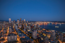 Aerial View Of Seattle Skyline...