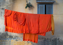 Buddhist Monk Robes Hanging On Clothesline