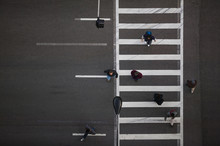 High Angle View Of Pedestrians...