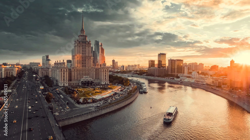 Sunset in the Moscow, Moscow at dusk, Moscow in the evening Canvas Print