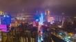 night illumination macau city downtown traffic street aerial panorama 4k timelapse china