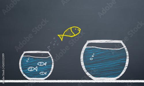 Fotografía innovative concept. fish switch from aquarium to larger aquarium