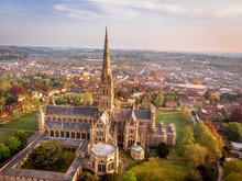 Aerial View Of Salisbury Cathedral In The Spring Morning