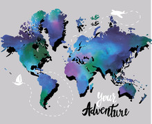 Your Adventure. Drawing By Hand, Children's Drawing.Bright, Colorful Drawing. World Map, Geographical Map. Airplane, Ship, Route. Spots Of Color. Poster, Postcard, Print On The T-shirt.