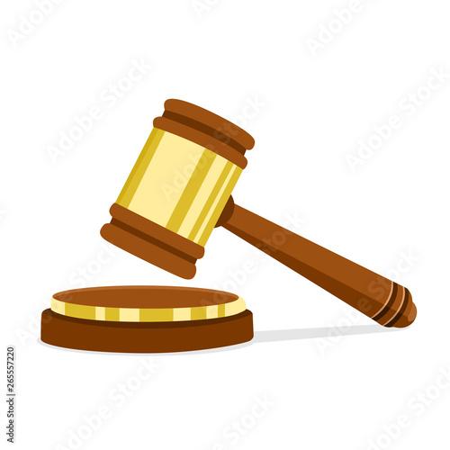 Obraz na plátne Vector illustration in flat design Wooden judge hammer of the chairman for adjudication of sentences and bills