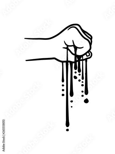 tropfen zerquetschen zerdrücken schleim pressen drücken blut würgen boxen hand s Slika na platnu
