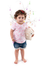 Toddler Girl With Easter Eggs Hugs Easter Lamb Plush Toy, Isolated On White