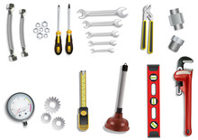 Plumber Service Icons Set On W...